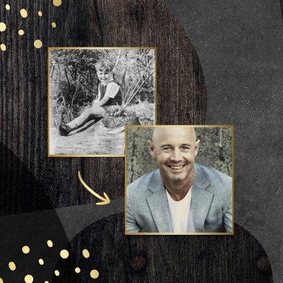Uitnodiging 50 jaar goud met krijtbord en hout abstract 2