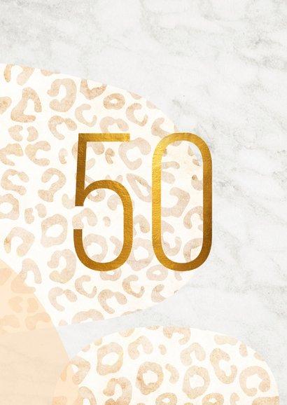 Uitnodiging 50 jaar goud met panter en marmer abstract 2
