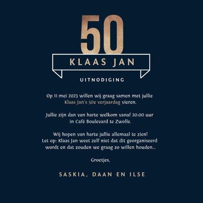 Uitnodiging 50 jaar goud stijlvol man blauw 3