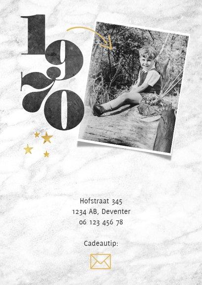 Uitnodiging 50 jaar met jaartallen, foto's, marmer & sterren 2