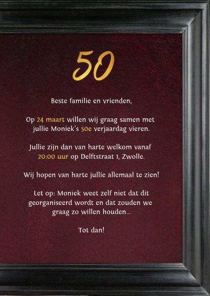Uitnodiging 50 jaar schilderij Rembrandt van Rijn portret 3