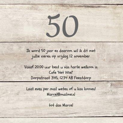 uitnodiging 50 jaar verjaardag hout print 3