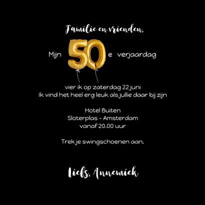 Uitnodiging 50 met ballonnen en confetti 3