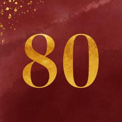 Uitnodiging 80 jaar in goudlook en bordeaux waterverf 2