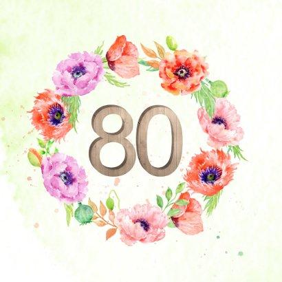 Uitnodiging 80 jaar met klaprozen 2