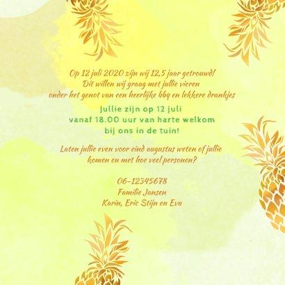 Uitnodiging ananas goudkleurig 3