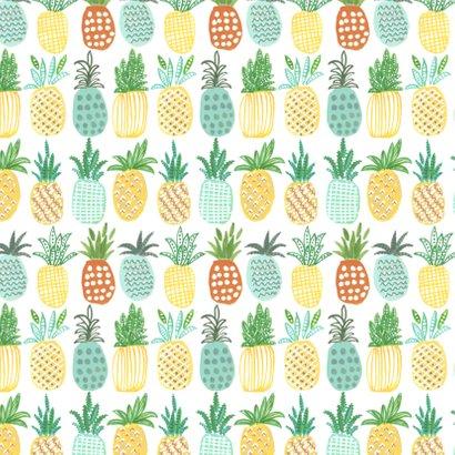 Uitnodiging Ananas trendy geel 2