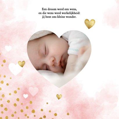 Uitnodiging babyborrel met roze waterverf, hartjes & stipjes 2