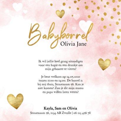Uitnodiging babyborrel met roze waterverf, hartjes & stipjes 3