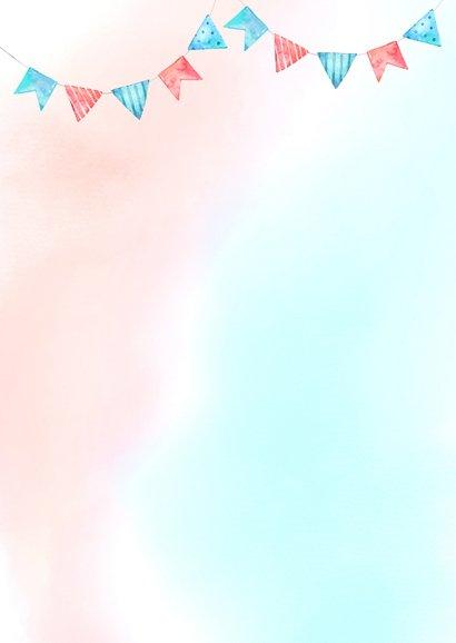 Uitnodiging babyshower blauw/roze Achterkant