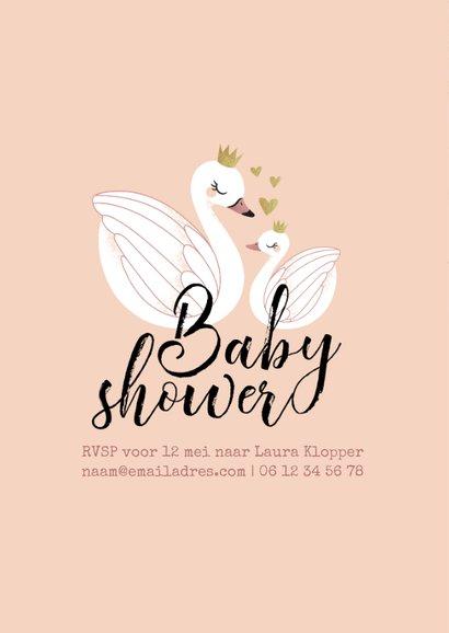 Uitnodiging Babyshower meisje zwaan zwaantjes 2