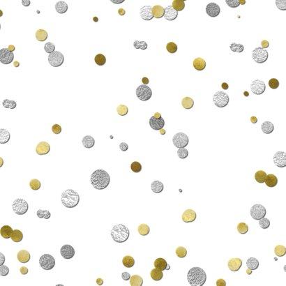 Uitnodiging ballon zilver 40  en confetti Achterkant