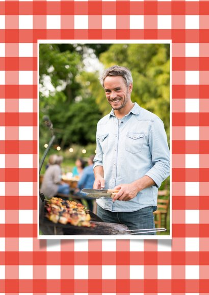 Uitnodiging barbecue rode ruitjes en tekstkader 2