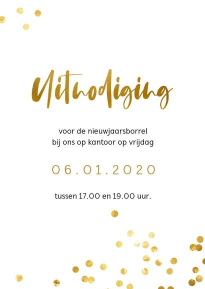 Uitnodiging borrel met gouden confetti 3