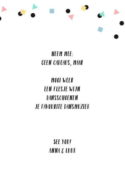 Uitnodiging borrel slinger confetti fotokaart 3