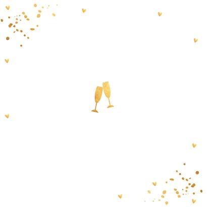 Uitnodiging kerstborrel goud confetti vierkant 2