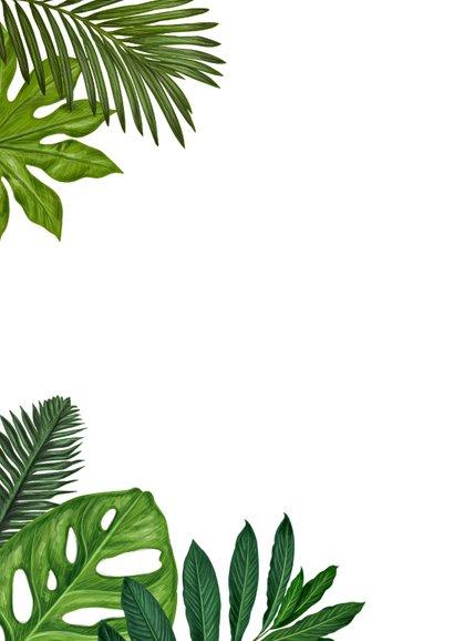 Uitnodiging botanisch groen blad met houten wegwijzer Achterkant