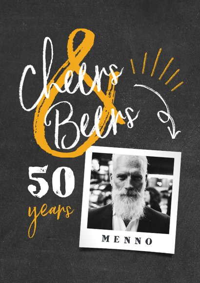 Uitnodiging 'cheers & beers' krijtbord met foto 2