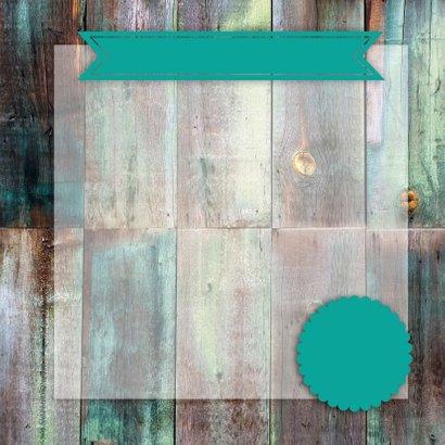 Uitnodiging collage op hout 3