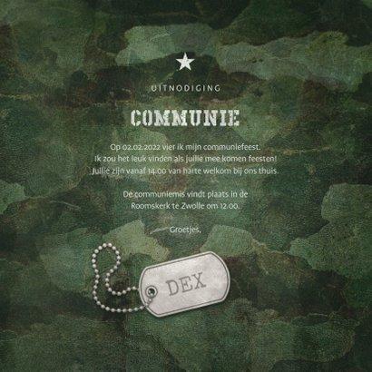 Uitnodiging communie army stoer met foto en legerplaatje 3