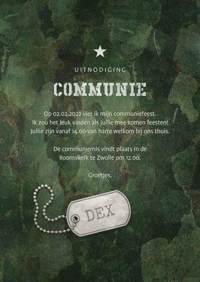 Uitnodiging communie army stoer met legerplaatje 3