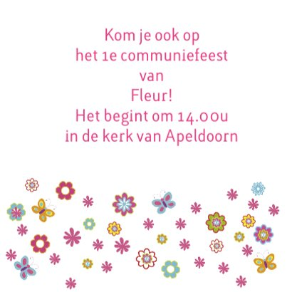 uitnodiging communie bloemen 3