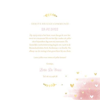 Uitnodiging communie duif met waterverf en hartjes 3