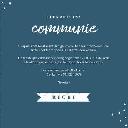Uitnodiging communie feest jongen stoer kraft  3
