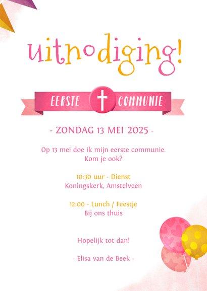 Uitnodiging communie feestje met een eenhoorn unicorn  3