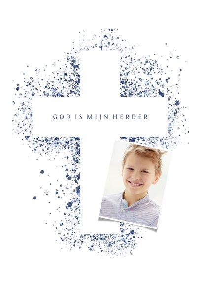 Uitnodiging communie foto & kruis verfspetters blauw 2
