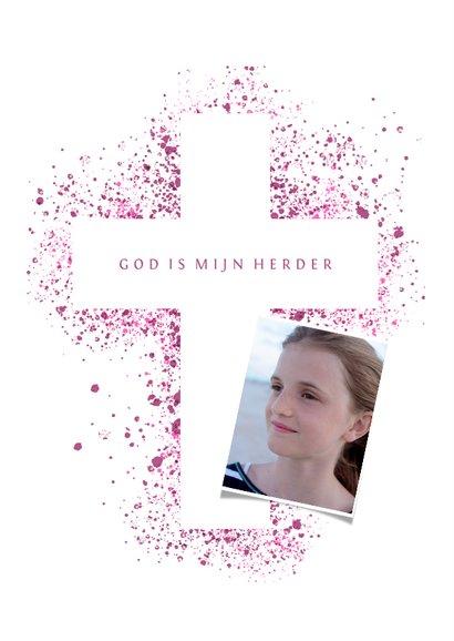 Uitnodiging communie foto & kruis verfspetters roze 2