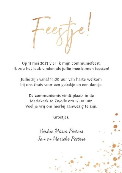 Uitnodiging communie foto stijlvol wit met gouden spetters 3
