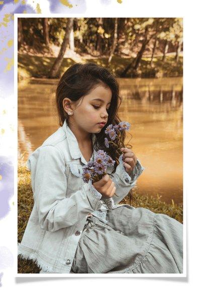 Uitnodiging communie fotocollage paars met spetters 2