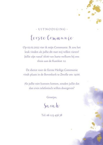 Uitnodiging communie fotocollage paars met spetters 3