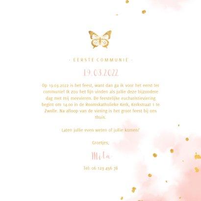 Uitnodiging communie gouden vlinder met waterverf 3