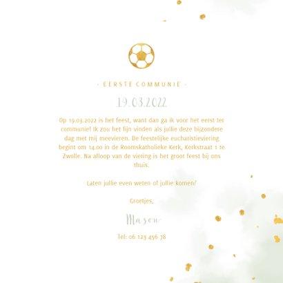 Uitnodiging communie gouden voetbal met waterverf 3