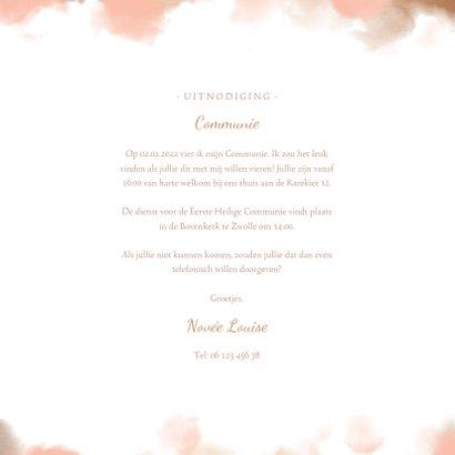Uitnodiging communie goudlook met waterverf en foto 3