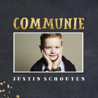 Uitnodiging communie krijtbord foto en gouden spetters 2