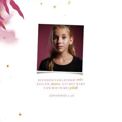 Uitnodiging communie met gouden bladeren en roze waterverf 2