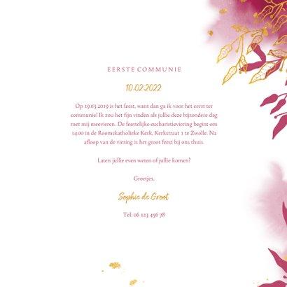 Uitnodiging communie met gouden bladeren en roze waterverf 3