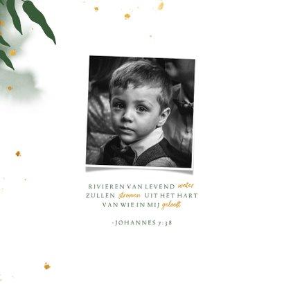 Uitnodiging communie met groene waterverf en gouden bladeren 2