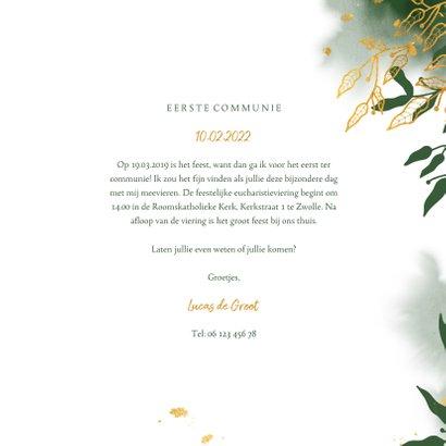 Uitnodiging communie met groene waterverf en gouden bladeren 3