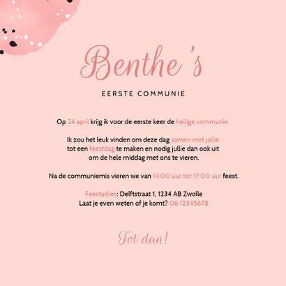 Uitnodiging communie roze meisje spetters en foto 3