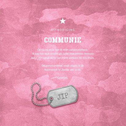Uitnodiging communie roze stoer met foto en legerplaatje 3