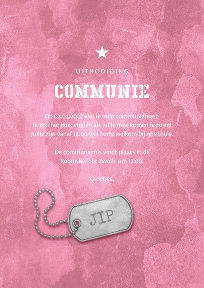 Uitnodiging communie roze stoer met legerplaatje 3