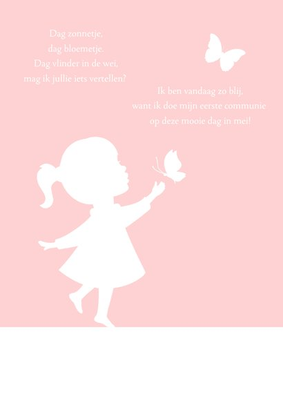 Uitnodiging communie silhouet meisje met vllinders 2