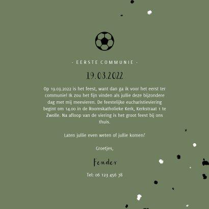 Uitnodiging communie voetbal met spetters 3