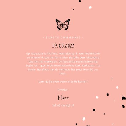 Uitnodiging communie zwarte vlinder met spetters 3