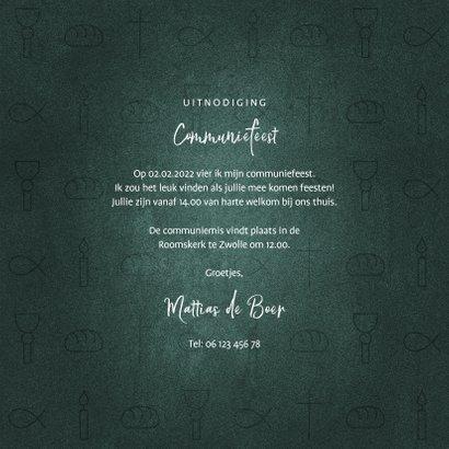 Uitnodiging communiefeest jongen christelijke symbolen 3