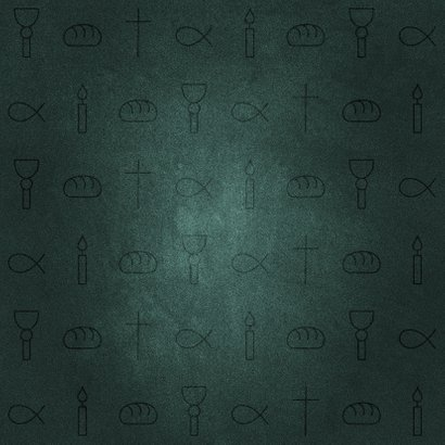 Uitnodiging communiefeest jongen christelijke symbolen Achterkant